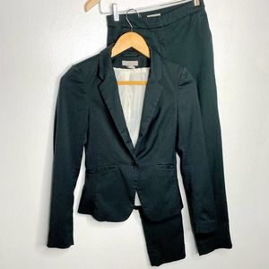 H&M Solid Green Fitted Jacket Pant Suit Set